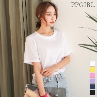 送料 0円★PPGIRL_9438 About half sleeve top / simple / round neck T shirt / basic T shirt