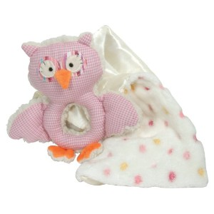 Stephan Baby Shabby Owl Shaggy Sherpa Rattle and Multi-Dot Fleece Blankie Gift Set, Pink/White by...