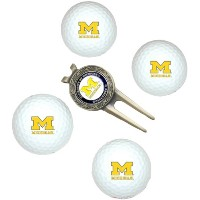 Team Golf 22206 Michigan Wolverines Pack of 4 Golf Balls and Divet Tool Gift Set