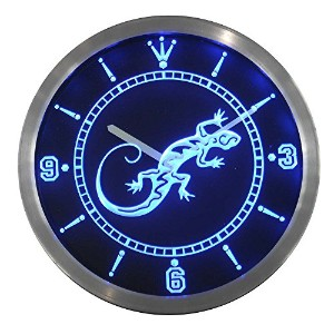 LEDネオンクロック 壁掛け時計 nc0414-b Gecko Lizard Display D?cor Bar Beer Neon Sign LED Wall Clock
