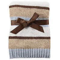Hudson Baby Striped Chenille Blanket, Blue by Hudson Baby