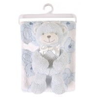 Stephan Baby Gift-to-Go Plush Pot-Bellied Bear and Plush Blanket Set, Blue by Stephan Baby