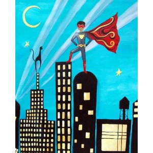 Cici Art Factory Wall Art, Superhero African American, Small by Cici Art Factory