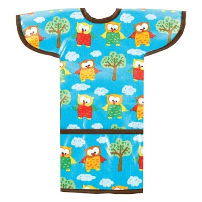 AM PM Kids! Sleeved Toddler Laminated Bib, Hoot Owls by AM PM Kids!