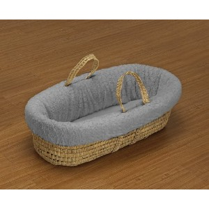 Baby Doll Bedding Sheepskin Moses Basket Set, Grey by BabyDoll Bedding