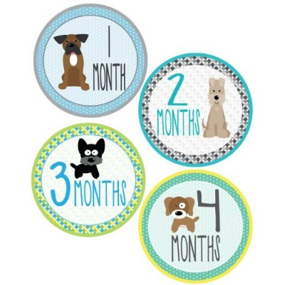 Puppies Monthly Onesie Stickers for a Newborn Baby - Waterproof and Durable - Includes 1-12 Month...