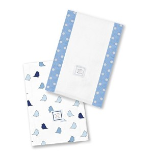 SwaddleDesigns Baby Burpies Lot de 2 serviettes absorbantes pour bébé Motif oisillons Bleu