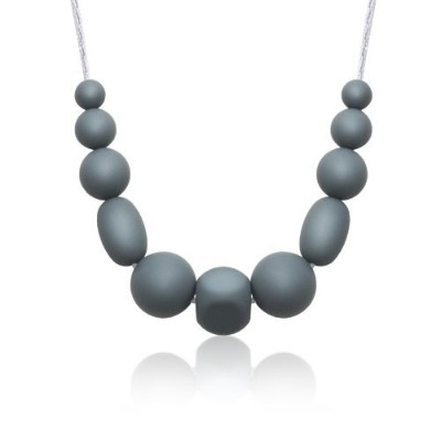Siliconies Medley Necklace - Silicone Bead Necklace (Teething/Nursing) (Silver-Grey) by Siliconies