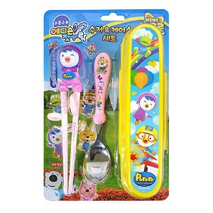 Pororo Edison Kid's Chopsticks & Spoon Set With Case (Pororo-Petty-set) by Edison