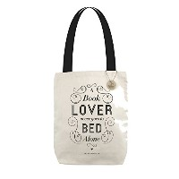 """"""" A Book Lover Never Goes to Bed Alone """"トートバッグ"""