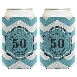 50th Birthday Gifts For All Beer Coolie Celebrating 50 Years Chevron Can Coolie Drink Coolers Coolies Premium Full Color by Birthday Gifts For All