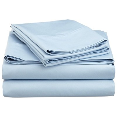 Impressions Cotton Blend 600 Thread Count , Deep Pocket, Soft, Wrinkle Resistant 3-Piece Twin XL Bed Sheet Set, Solid Light Blue by Luxor Treasures [並行輸入品]