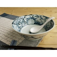 美濃焼 染付網浜絵ラーメン【径19.5x高7cm/850ml】【Bowl,noodle,made in japan】【bloom-plus】