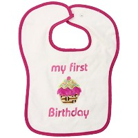 Dee Givens & Co-Raindrops A24435 My First Birthday Appliqued Medium Bib - Strawberry