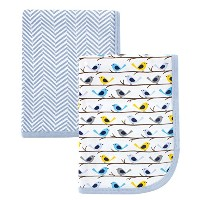 Hudson Baby 2 Piece Interlock Cotton Swaddle Blanket, Blue Birds by Hudson Baby