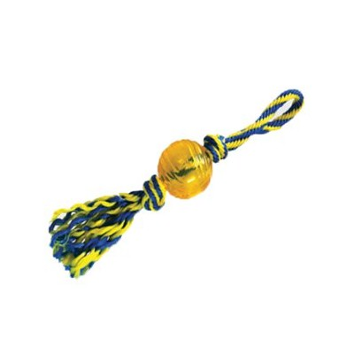 Paws Aboard T1234 Rubber Ball with Rope Small 3 in.