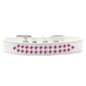 Two Row Bright Pink Crystal Size 16 White Dog Collar