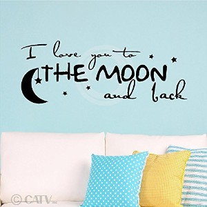 (NEW) I Love You To The Moon And Back wall sayings vinyl lettering art decal quote sticker home...