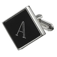 Visol Grove PersonalizedブラックMatte Cufflinks with Engraved Letter A