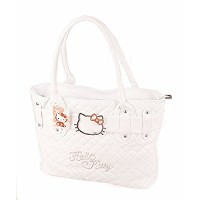 Hello Kitty Quilted Fauxレザーショッピングバッグハンドバッグトート財布Baby ホワイト