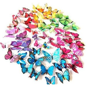 72 Pcs 3d Butterfly Stickers Home Decoration DIY Removable 3d Vivid Special Man-made Lively...