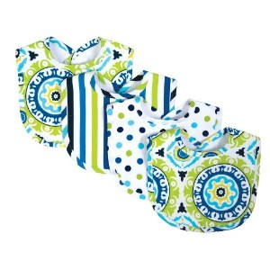 Trend Lab Waverly Solar Flair Bib Set, Blue/Green, 4 Count by Trend Lab
