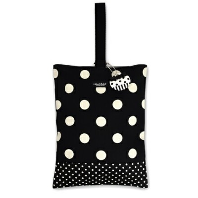 decorPolkaDot シューズケース リバーシブル polka dot large(twill・black)×polka dot small(twill・black)【シューズバッグ...