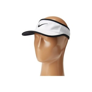 ナイキ メンズ 帽子 サンバイザー【Aerobill Featherlight Visor】White/Black/Black