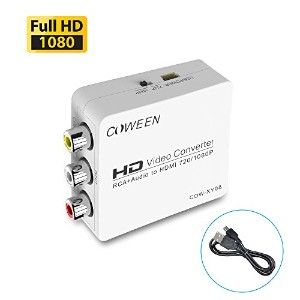 1080p対応 AV2HDMI コンバーター Full HD RCA AV to HDMI 変換 端子 CVBS 3RCA to HDMI コンポジット USBケーブル付き UP Scaler...