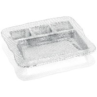 IVV Glassware All In One 4-section Multipurpose Serving Platter , 12–1/ 2by 11インチ、クリア