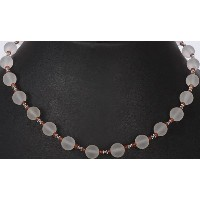 Frosted Crystal Beaded Necklace Fanta Garnet - Sterling Silver