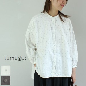 tumugu(ツムグ)ドットジャガードブラウス 2colormade in japantb17347-e