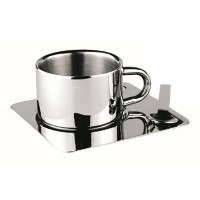 JustNile Coffee/Tea Cup and Saucer w/ Spoon - Stainless Steel Square Saucer by JustNile