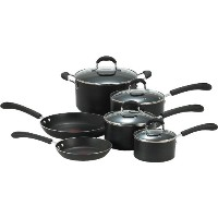 T-Fal ティファール rofessional Nonstick 10-Piece Cookware Set, Black