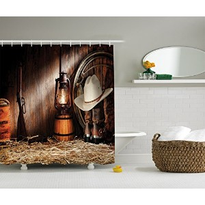 """Ambesonneホームシャワーカーテンセットフック付き 69"""" W By 70"""" L sc_10235_western_decor_1104"""