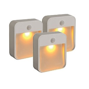 Mr BeamsスリープFriendly battery-powered motion-sensing LED stick-anywhere Nightlight with Amberカラーライト 3 pack size ホワイト MB720A-WHT-03-00 3