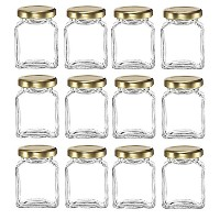 Nakpunar 12個、6オンスSquare Glass Jar withゴールドLids 6 OZ クリア GJR SQCL 0600 01 - 12GL