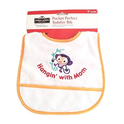 Pocket Perfect Toddler/Baby Bib Catch-all-pocket Monkey Applique Hangin' with Mom by Lucern North...