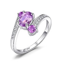 Jewelrypalace 女性 おしゃれ リング 天然石 0.9ct 紫 アメジスト 3石 人工 2月 誕生石 ユニーク デザイン 925 スターリング シルバー ニッケルフリー 婚約指輪 結婚式...