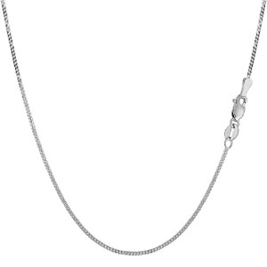 """14k White Gold Gourmette Chain Necklace, 1.0mm, 20"""""""