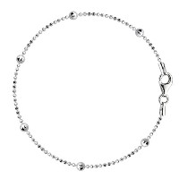 Bead Link Chain Anklet In Sterling Silver, 10""