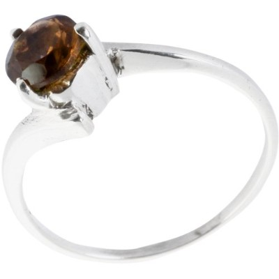 Faceted Smoky Quartz Ring - Sterling Silver Ring Size 8