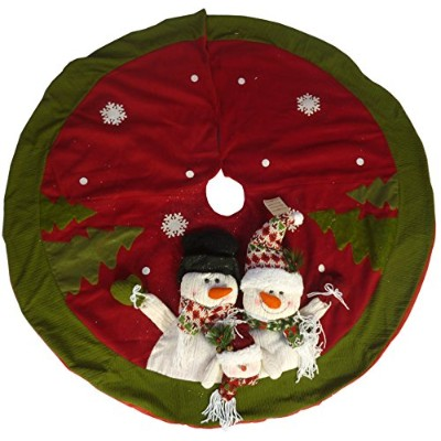 48 Inch Beautiful Christmas Tree Skirt In Red & Green With Snowman Family by CHRISTMAS CONCEPTS