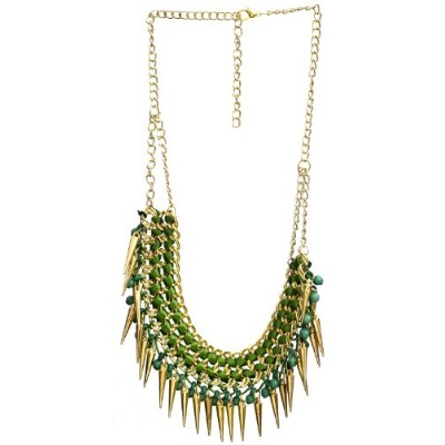 Necklace with Spikes - Brass - Color Green