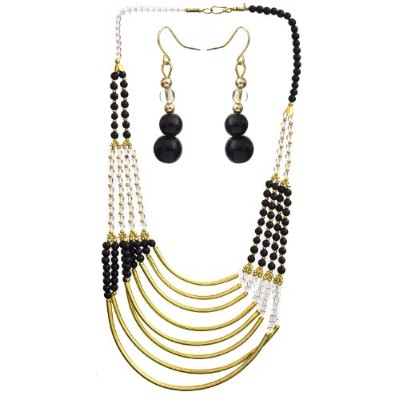 Eight Strand Beaded Necklace with Earrings Set - Brass - Color Glass Black