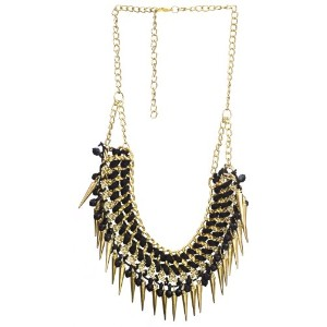 Necklace with Spikes - Brass - Color Black