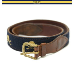 RUGBY by Ralph Lauren Skull Leather Beltラグビー スカル柄のレザーベルト