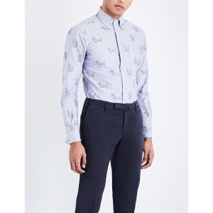 トム ブラウン thom browne メンズ トップス シャツ【hector-embroidered regular-fit oxford-cotton shirt】Navy
