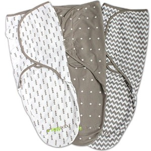 Swaddle Blanket, Adjustable Infant Baby Wrap Set by Ziggy Baby, Soft Cotton in Grey by Ziggy Baby