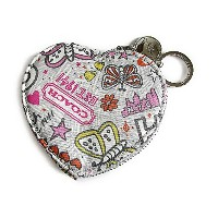コーチ 小銭入れ バタフライ ハート コイン ケース COACH Butterfly Graffiti Heart Coin Case F60824 SV/GE SV/Grey Multi ...